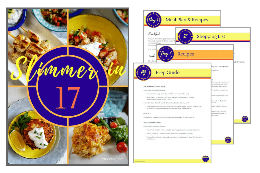 Slimmer in 17 is a full 17 day meal plan for Cycle 1 of the 17 Day Diet